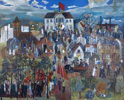 """Maleri av Reidar Aulie, """"1. mai"""" fra 1939, 219 x 272 cm."""