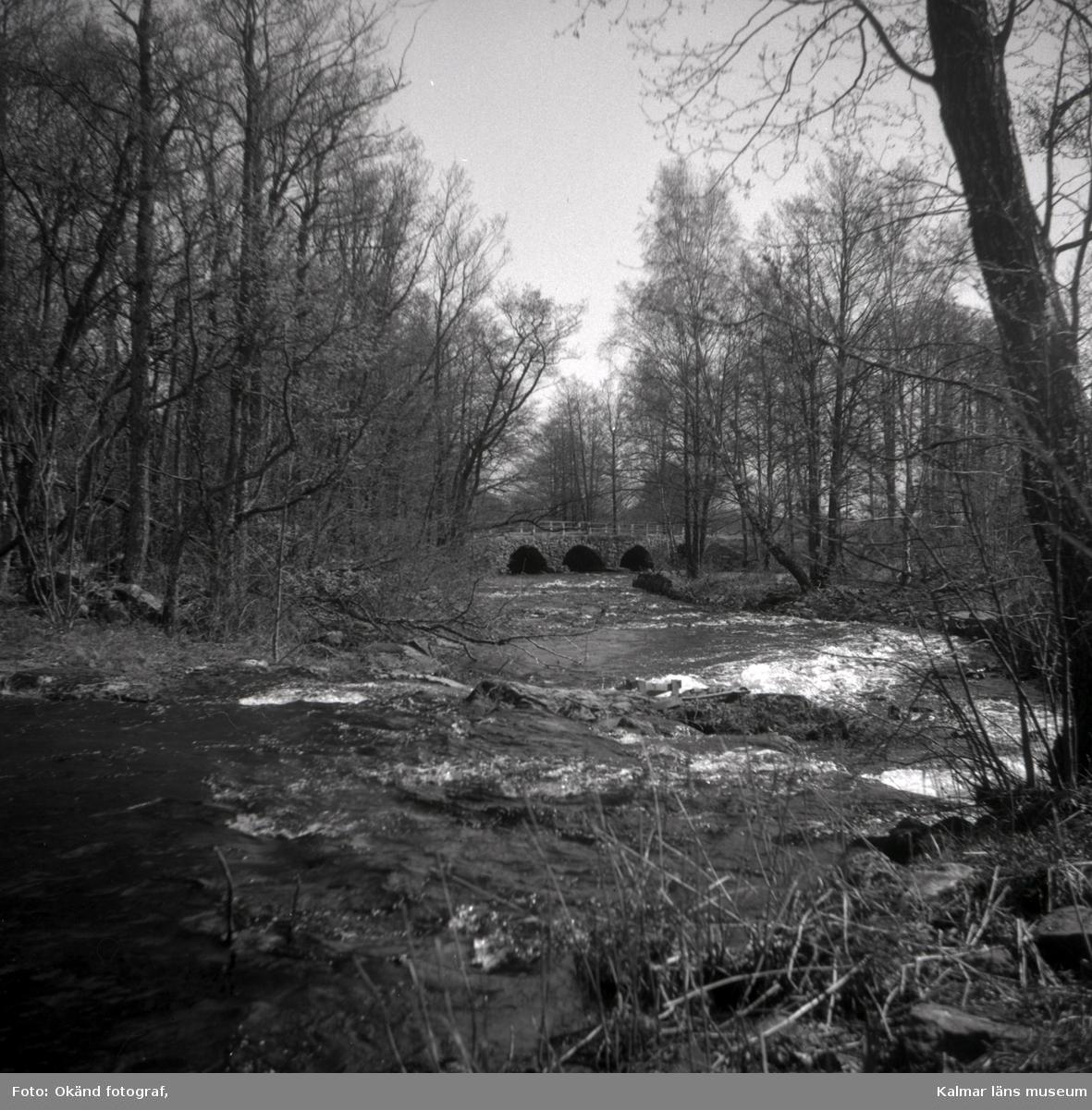 Landskap med å och valvbro i bakgrunden, okänd ort.