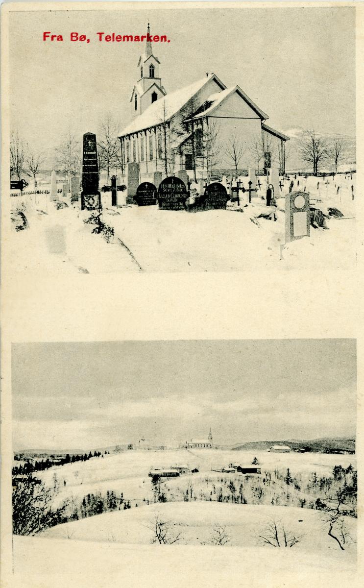 Todelt postkort. Bø nye kyrkje og utsyn mot Bøhaugen frå prestegarden.