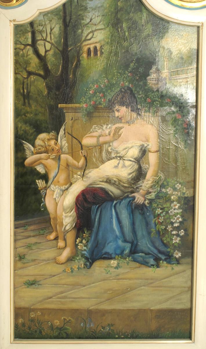 Sittende kvinne  i hvitt på blått, teppe, tv. for henne   Amor med pil og bue.  H. sidefelt,   Svevende putto med blomsterfat over en  terasse.  Tv.   svevende putto med blomsterfat, over basseng.
