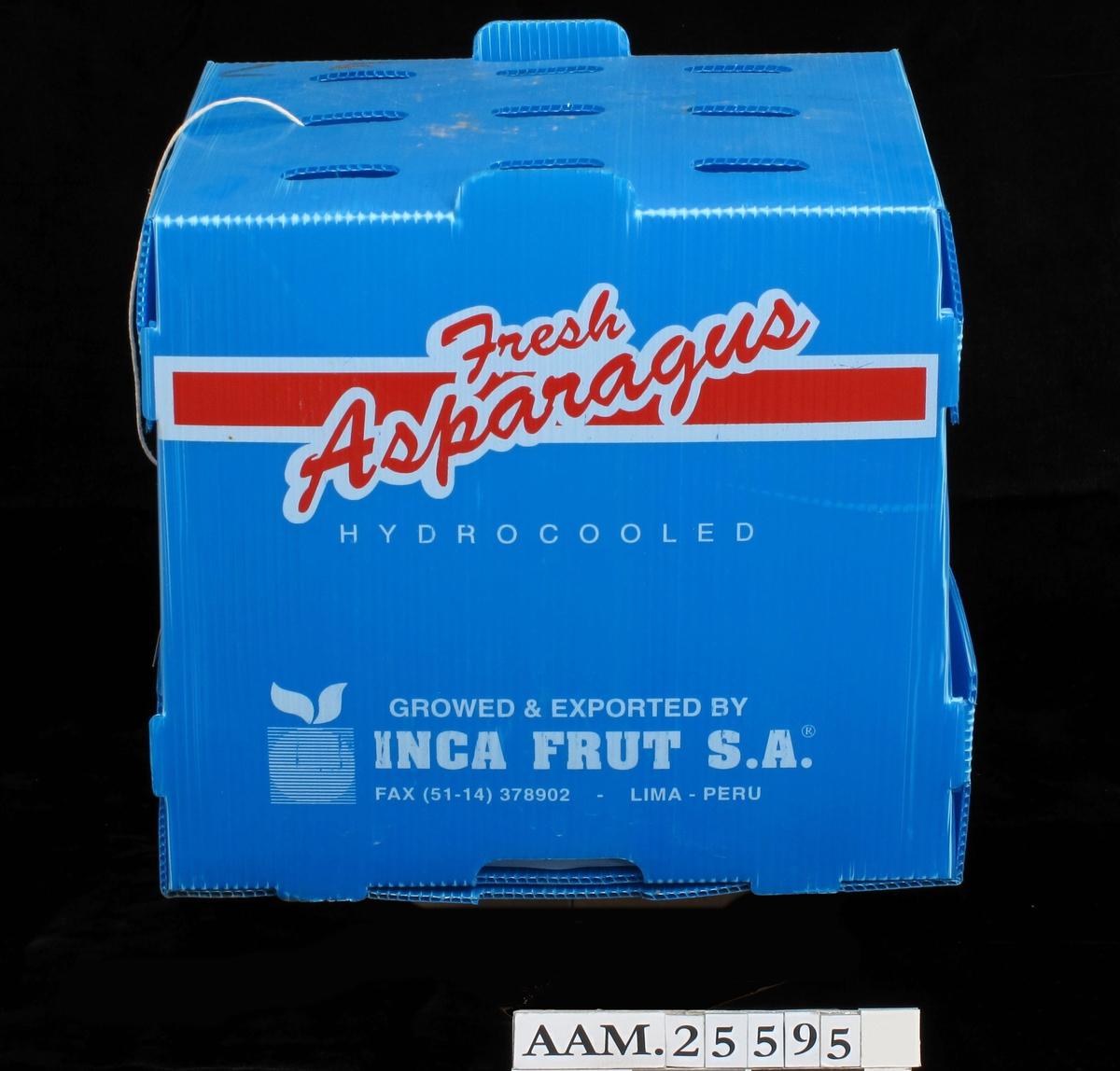 Eske av blå plast, for kjølig oppbevaring av asparges under lang transport fra produsent til marked.