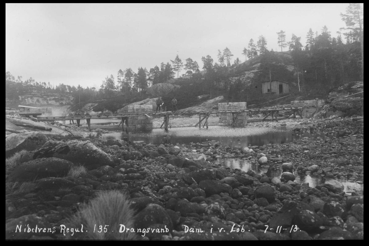 Arendal Fossekompani i begynnelsen av 1900-tallet CD merket 0446, Bilde: 54 Sted: Nisserdammen. Fangdam Beskrivelse: Regulering