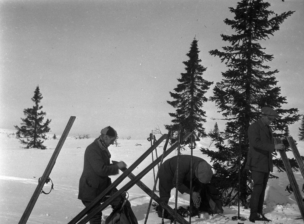 Skitur på fjellet. Tre menn smører skiene sine.
