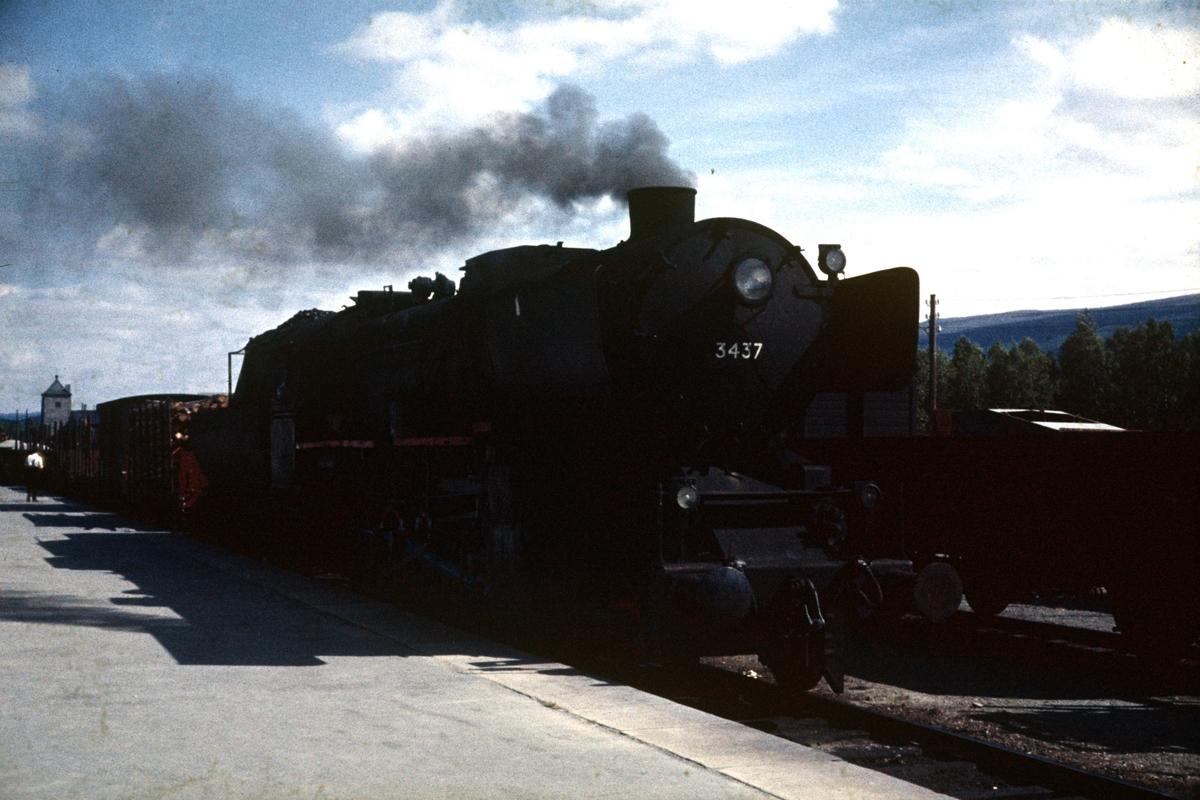 Godstog 5702 gjør opphold på Oppdal stasjon