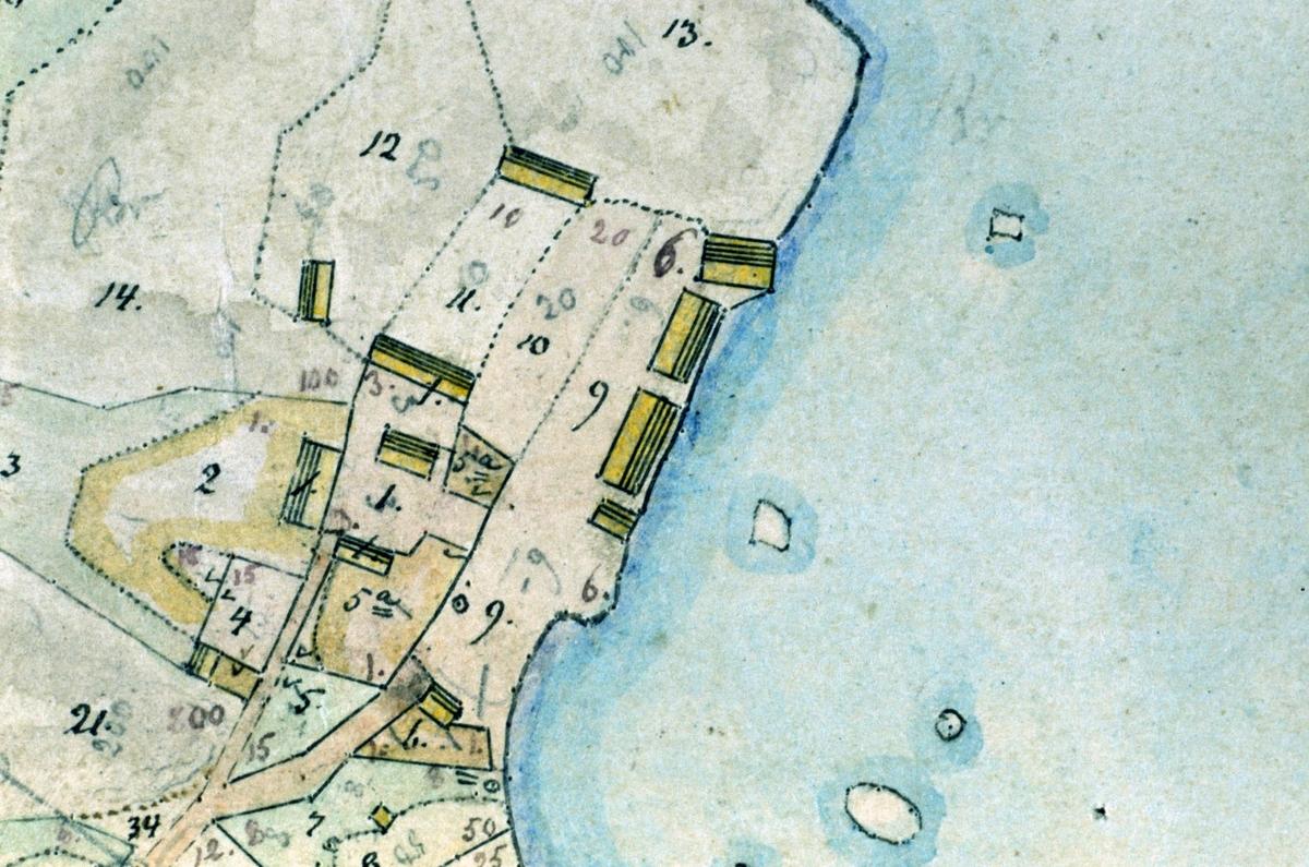 Detalj ur Karta öfver Ängskär uti Upsala Län, Olands Härad och Hållnäs socken upprättad vid Laga skifte åren 1867 och 68 af E. Sjöholm, Ängskär, Hållnäs socken, Uppland 2000