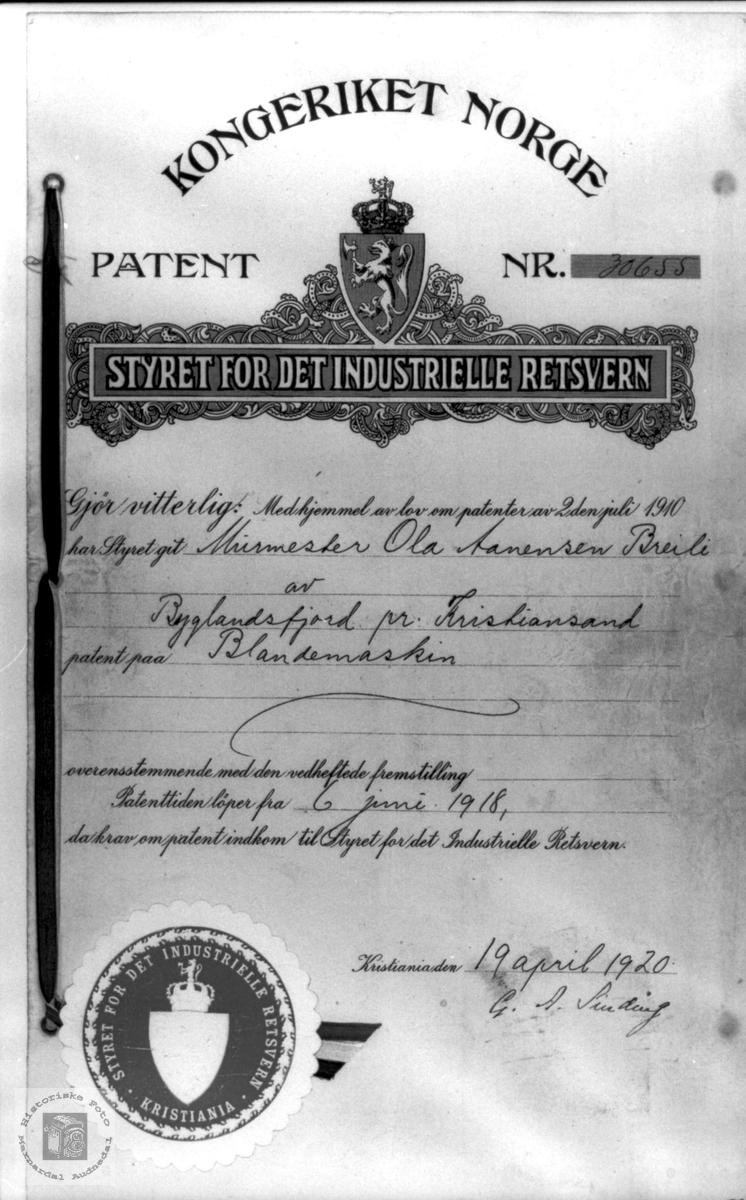 Patent på blandemaskin - Ola Breilid Haugland, Bjelland.