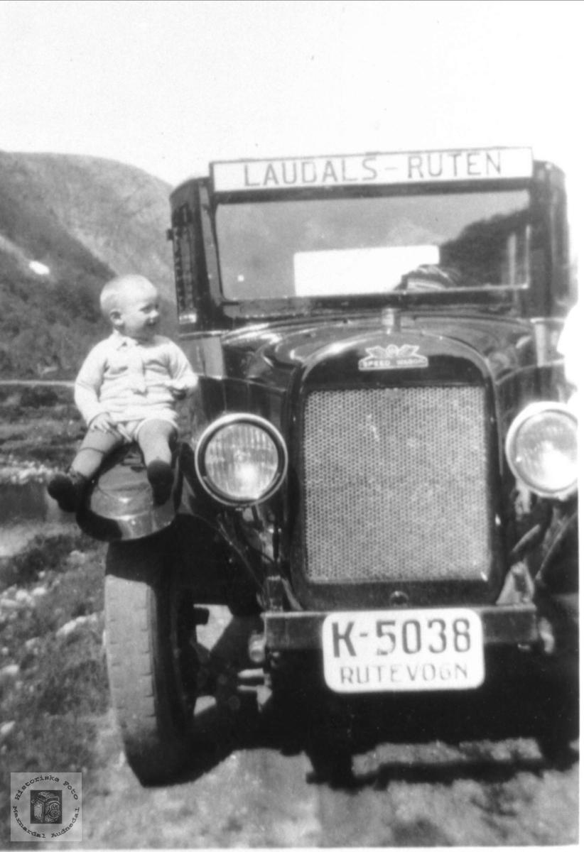 Laudalsruten K-5038. K-5038 var en lastebil av merket REO, antakelig 1926-modell. Den var registrert som rutevogn, som kombinert bil med plass både til passasjerer og gods. Eier var Fredrik Skuland som drev Laudalsruta.