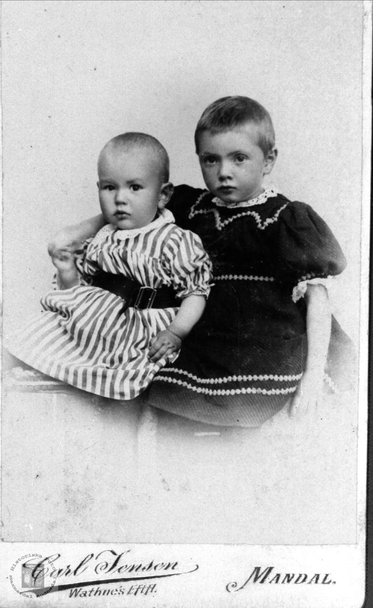 Barneportrett av søsknene Charlotte og Bjørn Finsdal, Øyslebø.