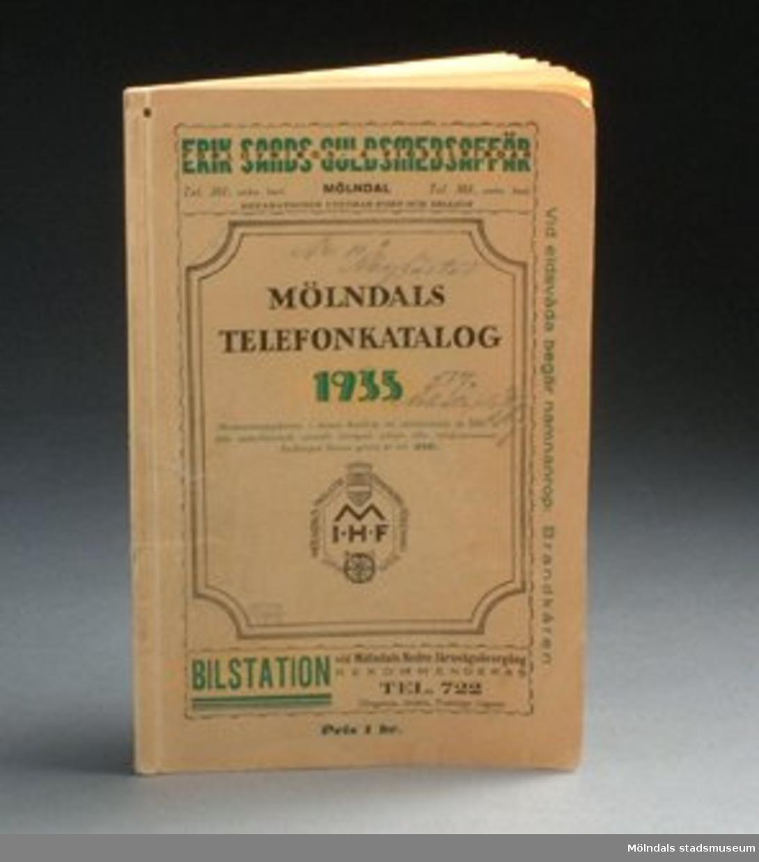 Mölndals telefonkatalog 1935, Mölndal, 1935. 72 sidor.