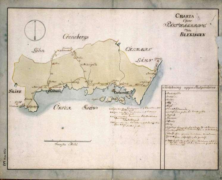 Postkarta över postvägarna i Blekinge under 1700-talets mitt. Kartan visar endast Blekinge, de angränsande länen namnges endast vid sidan om. En förteckning över postgårdar finns i nedre högra hörnet. Kartan är ritad och kolorerad för hand.