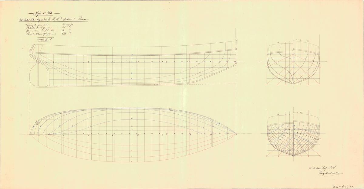 Linjeritning i profil och plan med spantrutor