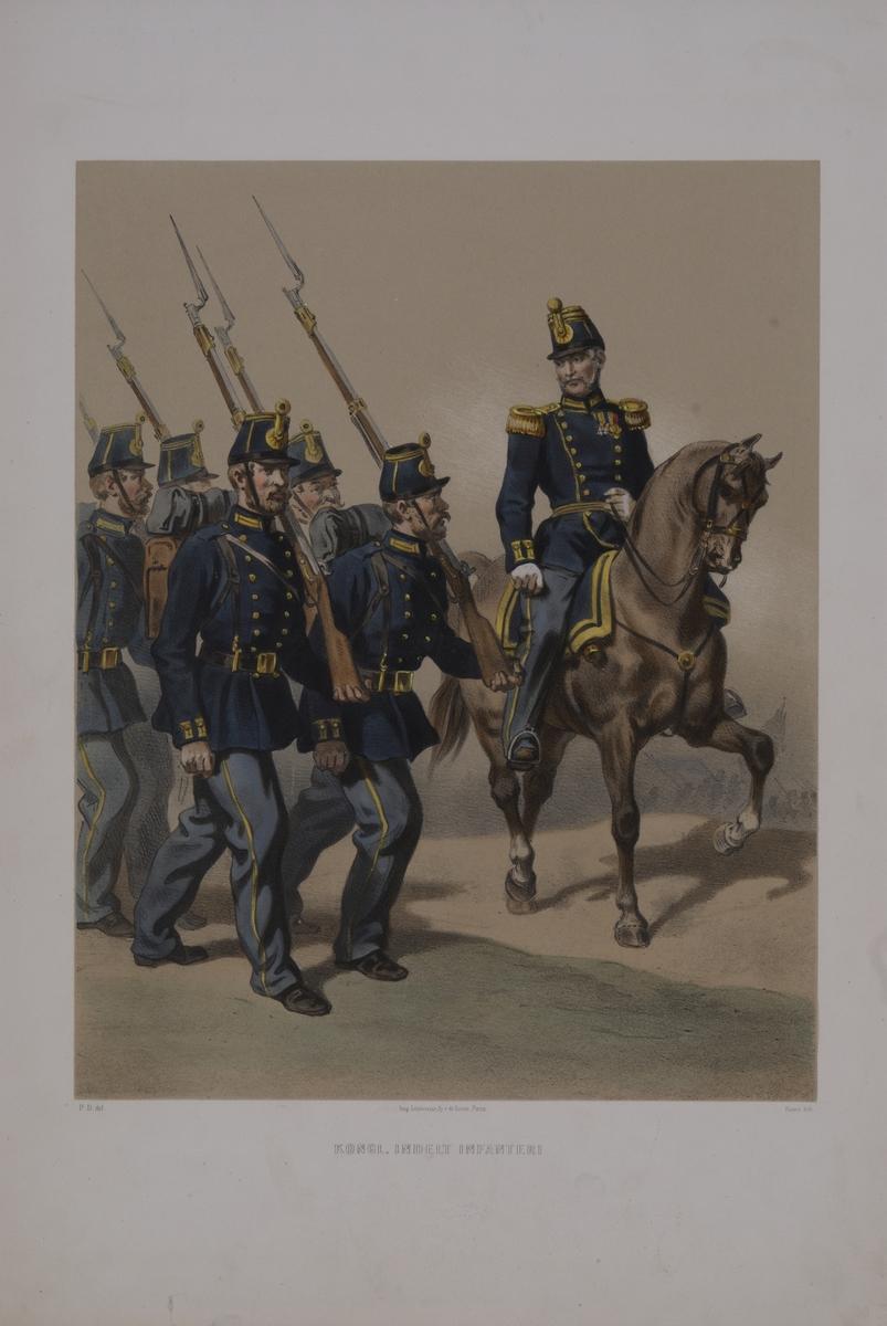 Plansch med uniform för Indelta infanteri. Plansch i färgtryck efter original av Fritz von Dardel. Ingår i planschsamlingen Den svenska och norske armeens uniformer, 1861-1863.