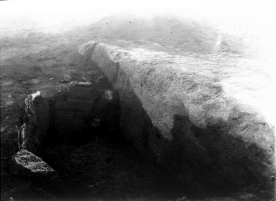 Hällkista på Mösseberg, Bergsgården. Berghällens sida har fått tjänstgöra som gravens ena vägg.