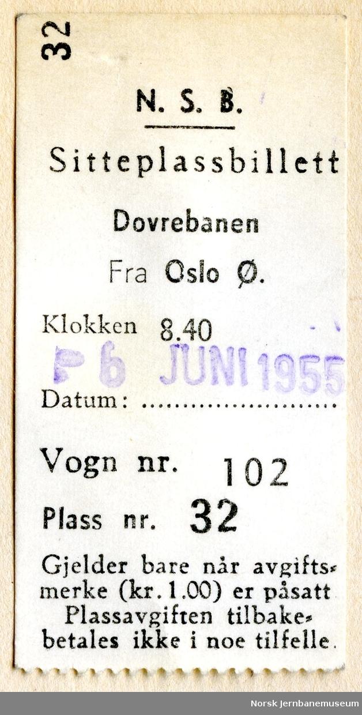 Sitteplassbillett Dovrebanen, fra Oslo Ø