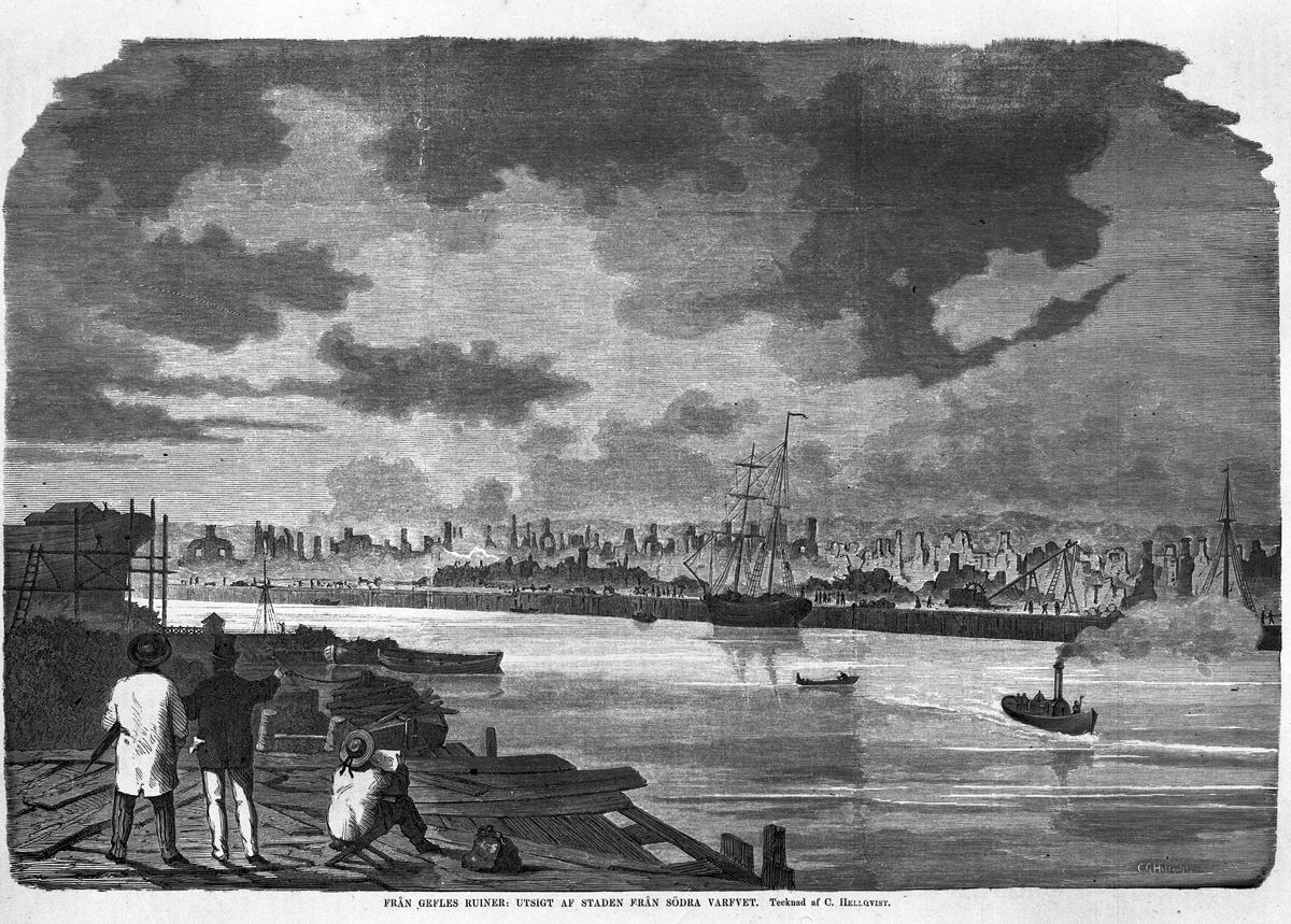 """Stadsbranden år 1869. """"Utsigt av staden från Södra varfvet"""". Tecknad af C. Hellqvist,  Ny Illustrerad Tidning. Ej Carl Larsson bild, kopia."""