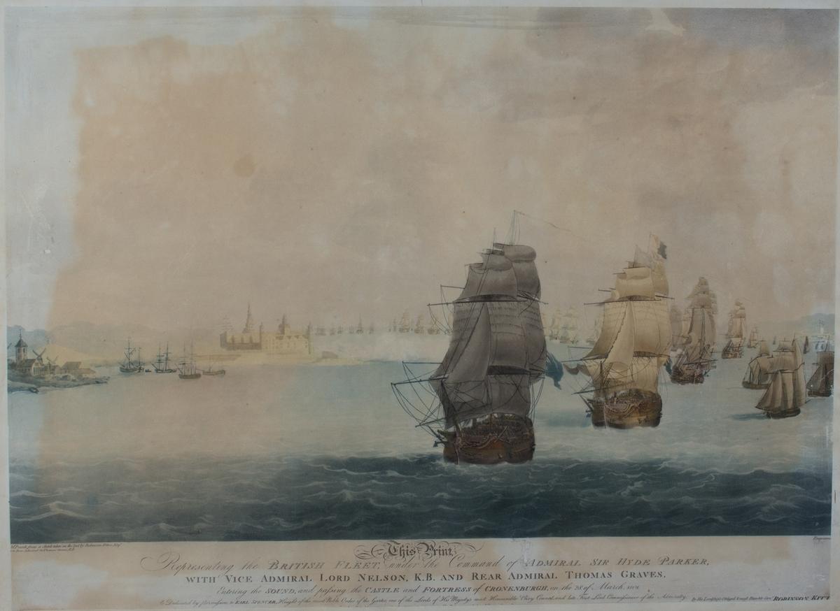 Den britiske flåten passerer Øresund og Kronborg slott ved Helsingør.
