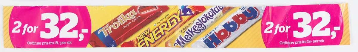 Fotografi av 4 ulike sjokoladebarer. Fra venstre: Nidar Troika, New Energy, Nidar Melkesjokolade, Nidar Hobby