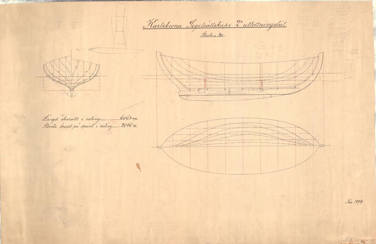 2 segelritningar 1 kölritning 1 spant, profil och planritning