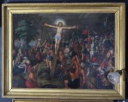 Christi Korsfæstelse med en Mængde figurer [Oljemaleri]