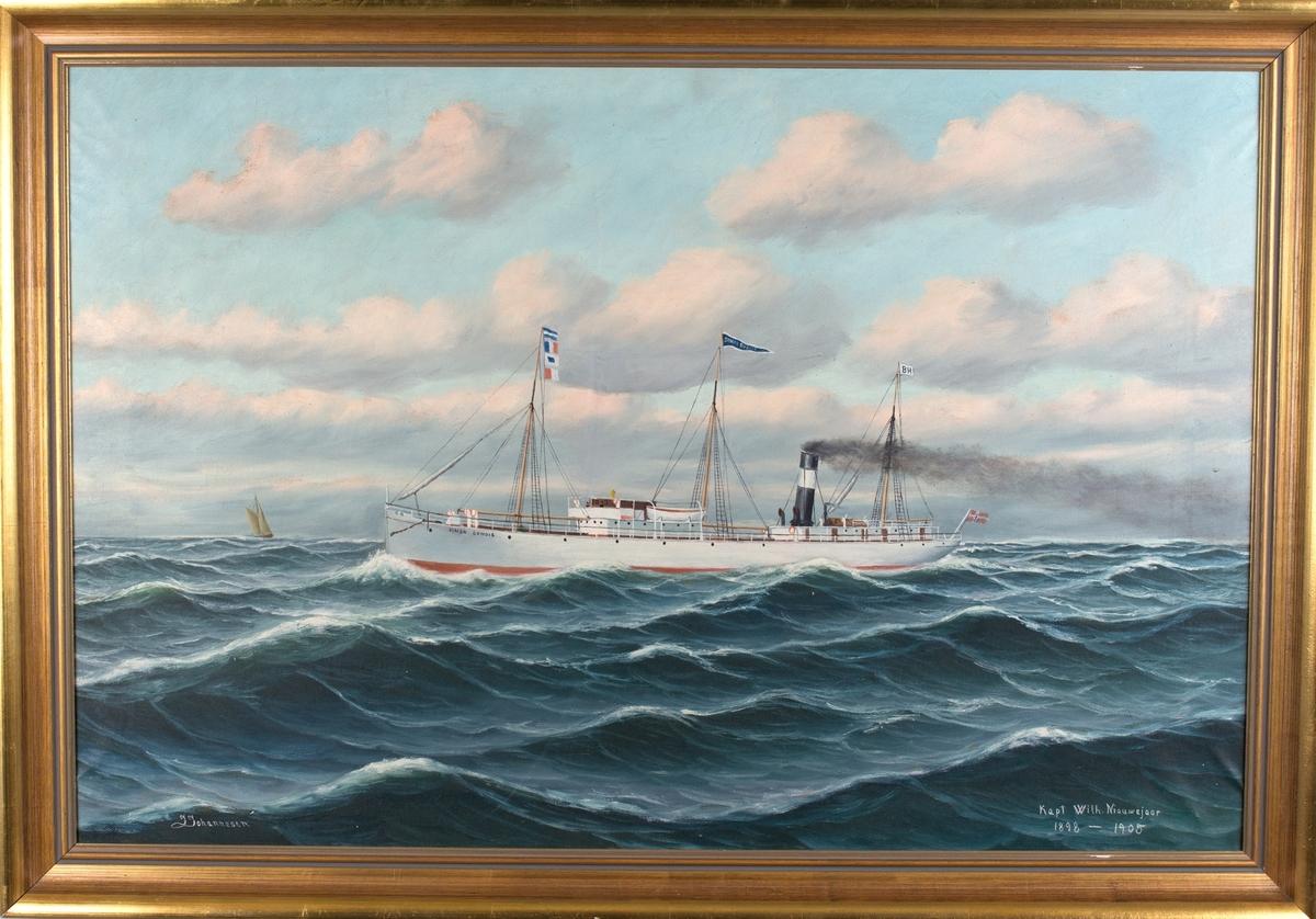 Skipsportrett av DS SIMON DUMOIS under fart i åpen sjø. Ser et annet seilfartøy til venstre i motiv.