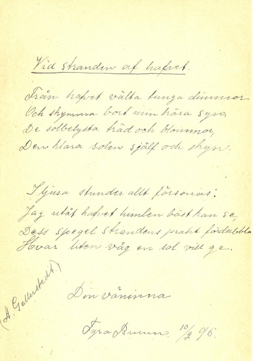 Sida med poesi ur Lilli Sahlbergs minnesalbum.