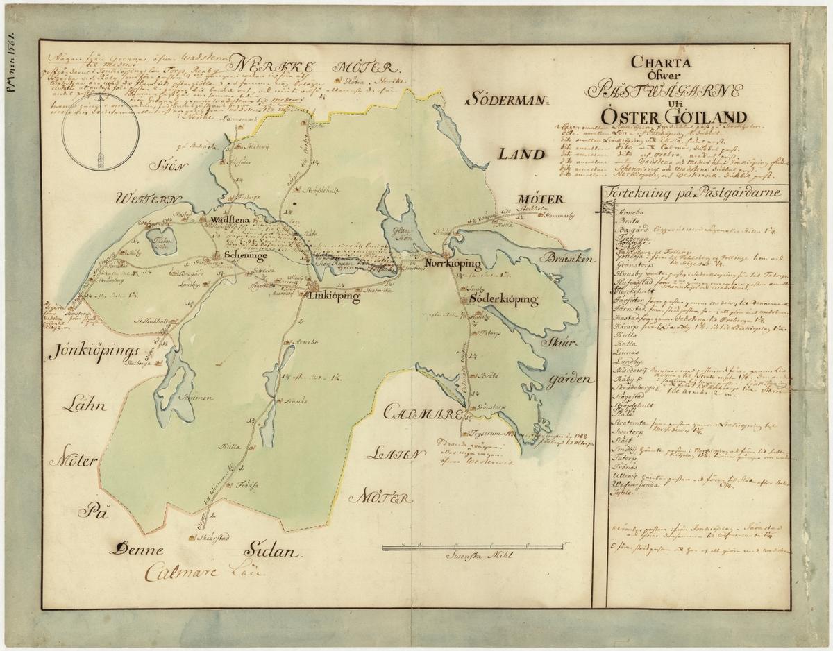 Karta över postvägarna i Östergötland under 1700-talets mitt. Kartan visar endast Östergötland, de angränsande länen namnges endast vid sidan om. En förteckning över postgårdar med diverse andra postala anteckningar finns i nedre högra hörnet. Kartan är ritad och kolorerad för hand.