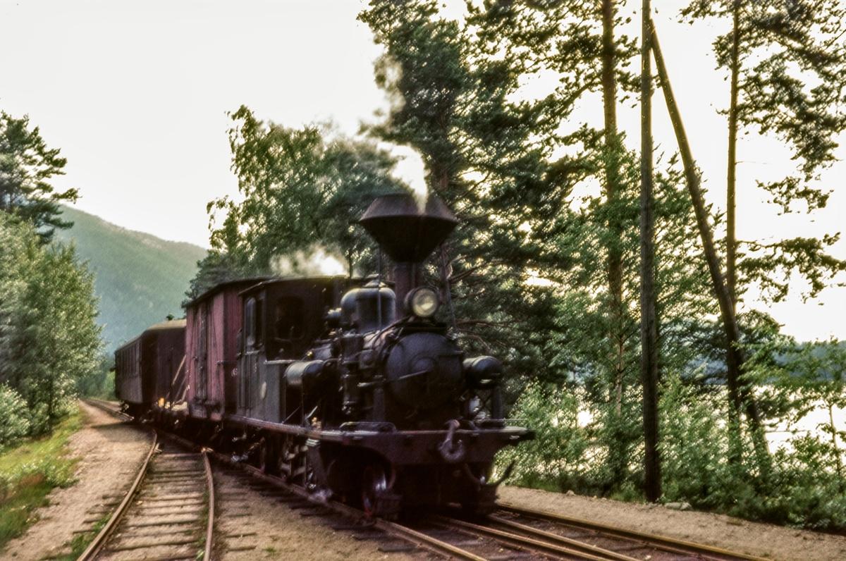 Blandet tog fra Grovane til Byglandsfjord på Byglandsfjord stasjon. Toget trekkes av Setesdalsbanens damplokomotiv nr. 5.