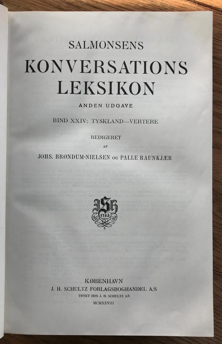 Leksikon, Salomonsens Konversasjonsleksikon. 2.utg. Bind I-XXV Kbhvn. MCMXV.Bind gråmarmoret papp, rygg rødt skinn med gulldekor. Ujevn farge på ryggene.