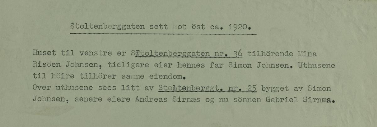 X Risøen - Stoltenberggaten sett mot ost ca.1920