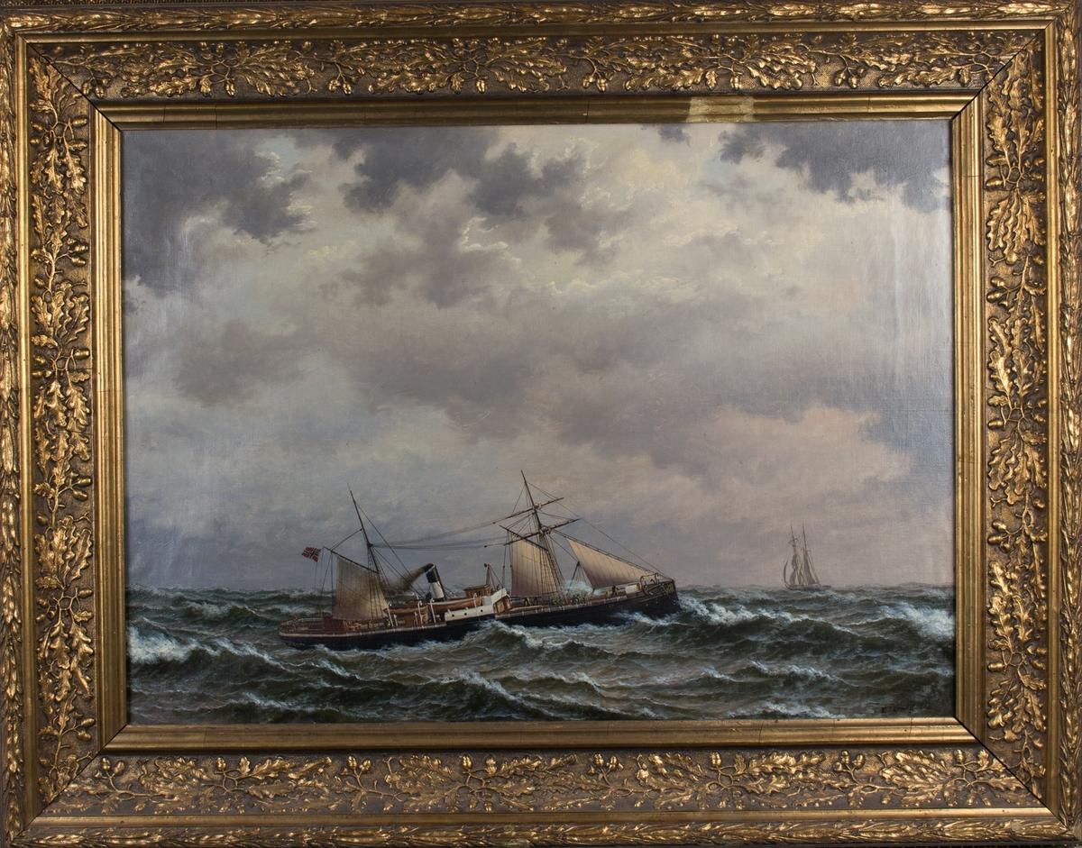 Skipsportrett av DS FRIDTJOF med seilføring under fart med norsk handelsflagg med svensk-norsk unionsmerke. Ser flere mennesker på dekk samt seilskip i bakgrunnen.