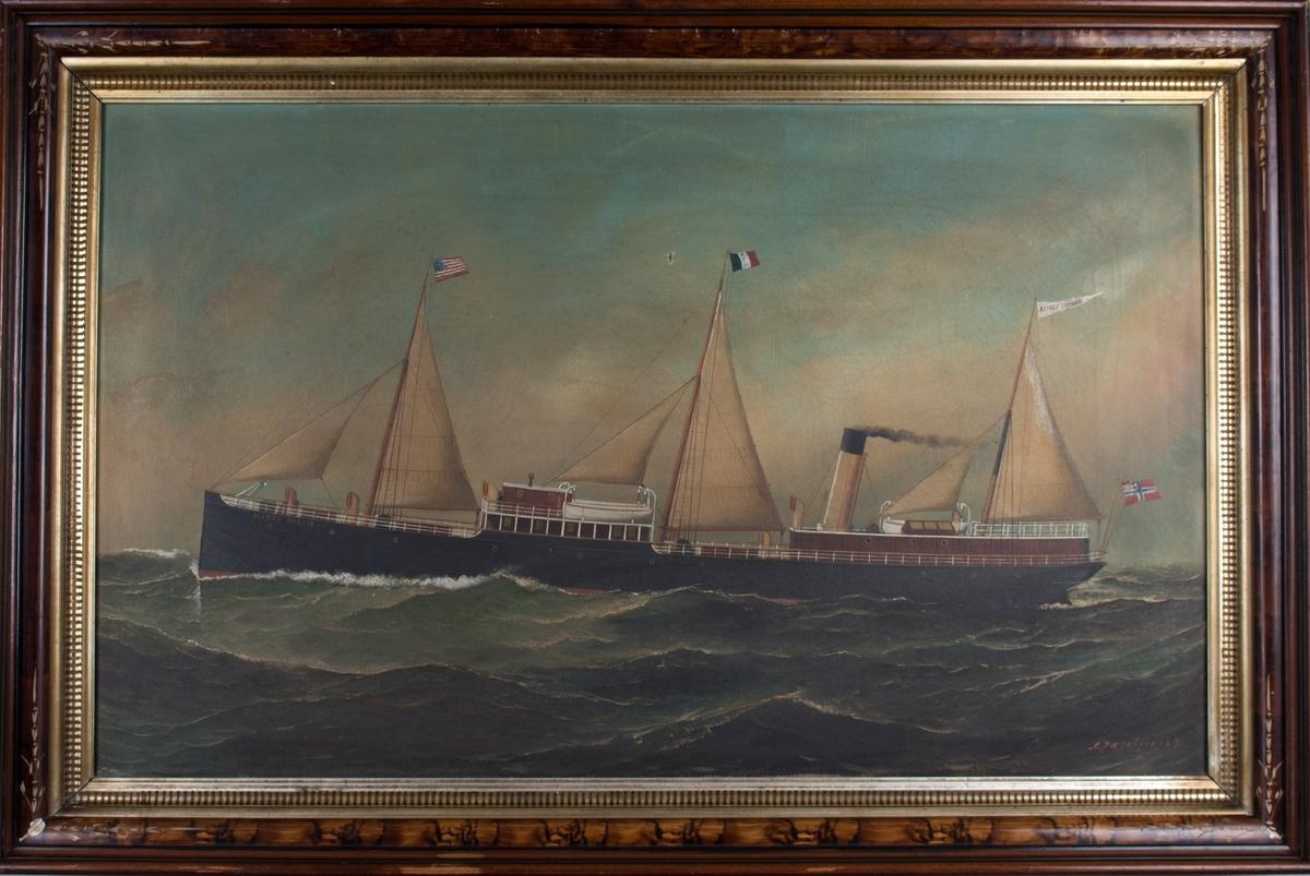 Skipsportrett av DS ALFRED DUMOIS under fart med seilføring. I åpen sjø med amerikanske flagg i formast, vimpel  med skipets navn i bakre mast samt unionsflagg akter.
