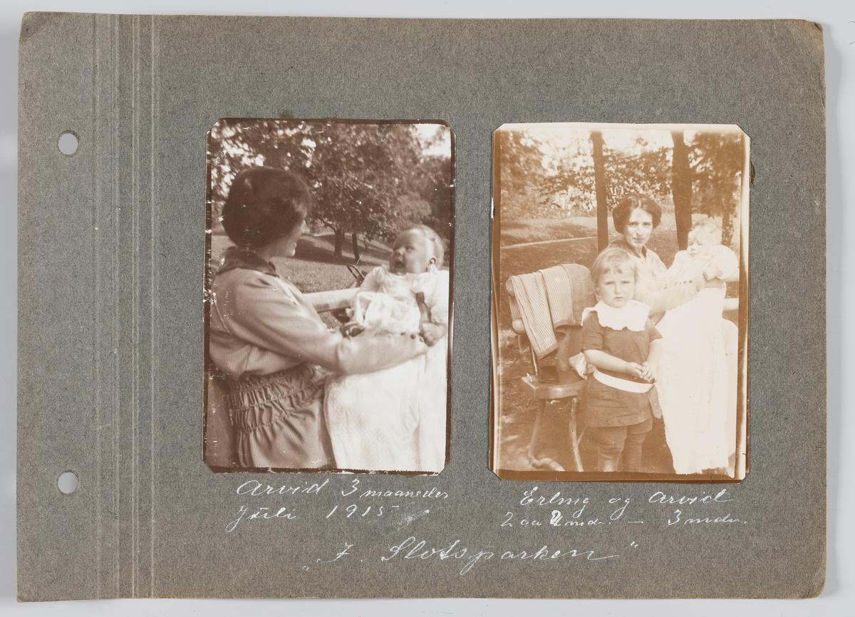 Amy Michelsen med sønnen Arvid Michelsen på fanget i Slottsparken Oslo, juli 1915. Amy Michelsen med sønnene Erling og Arvid i Slottsparken Oslo, juli 1915.
