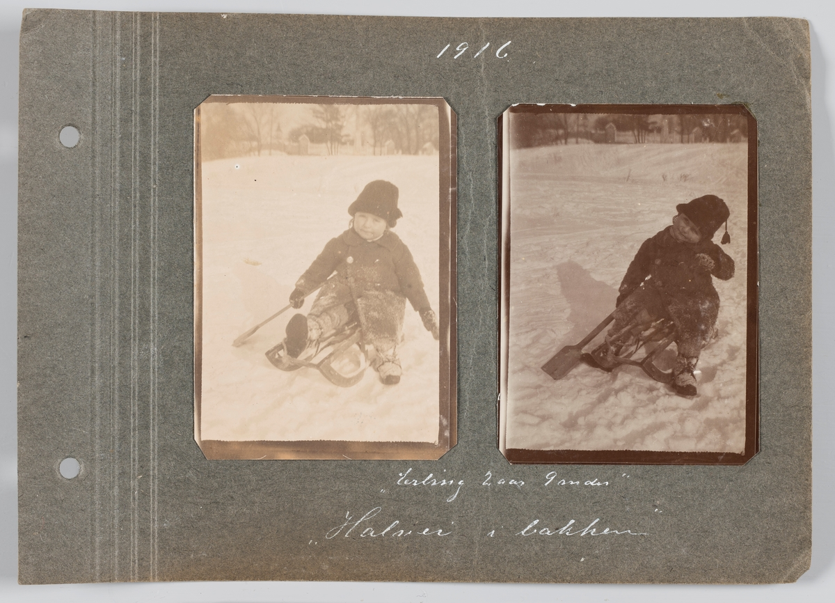Begge bilder: Erling Michelsen i Frognerparken, februar 1916.