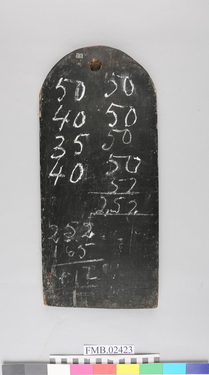 Rektangulær tavle med ovalt toppparti. Det er skåret ut et hull som fungerer som oppheng for tavlen. Tavlen er av tre og er malt svart. Den har påtegnet tall i kritt.