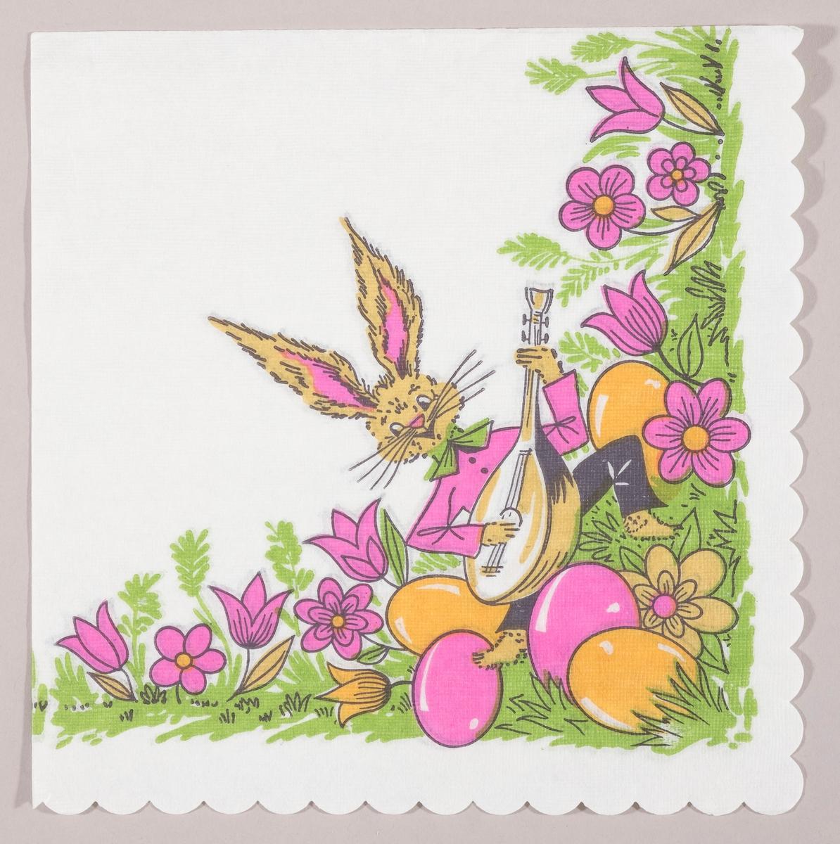 En påskehare med skjorte og sløyfe som spiller på en sitar i en blomstereng med rosa blomster og kulørte påskeegg.