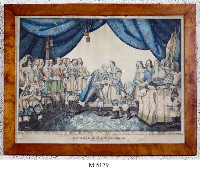 Akvarellmålning. Gustaf II Adolfs möte med Axel Oxenstierna 15 augusti 1632 i kretsen av fältherrar.