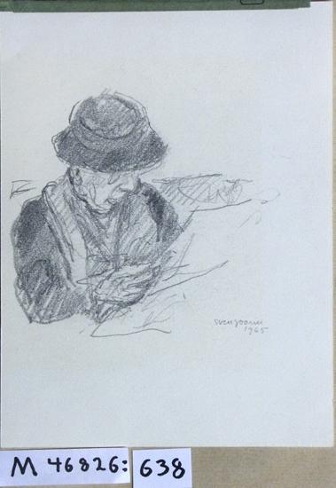 Blyertsteckning. Äldre kvinna i hatt och glasögon, läsande tidning.