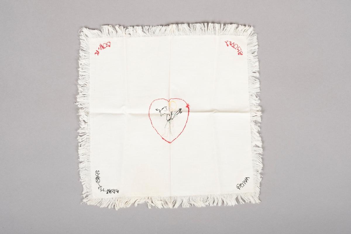 Et hjerte med Amor stående med pil og bue i hånden. På ryggen bærer han et kogger med to piler i.