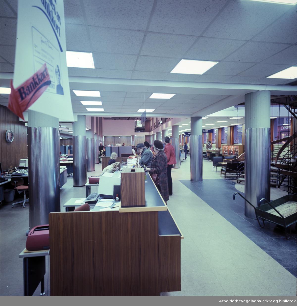 Landsbanken. Arbeidernes Landsbank på Youngstorget. .Januar 1978