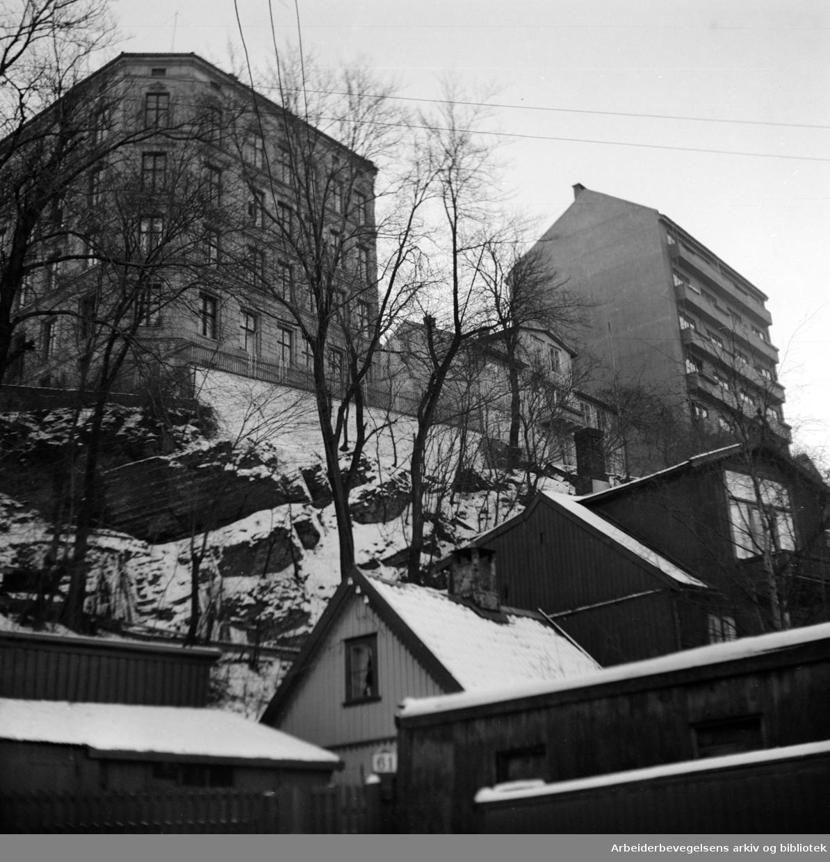 Kampen, gammel bebyggelse. Desember 1948
