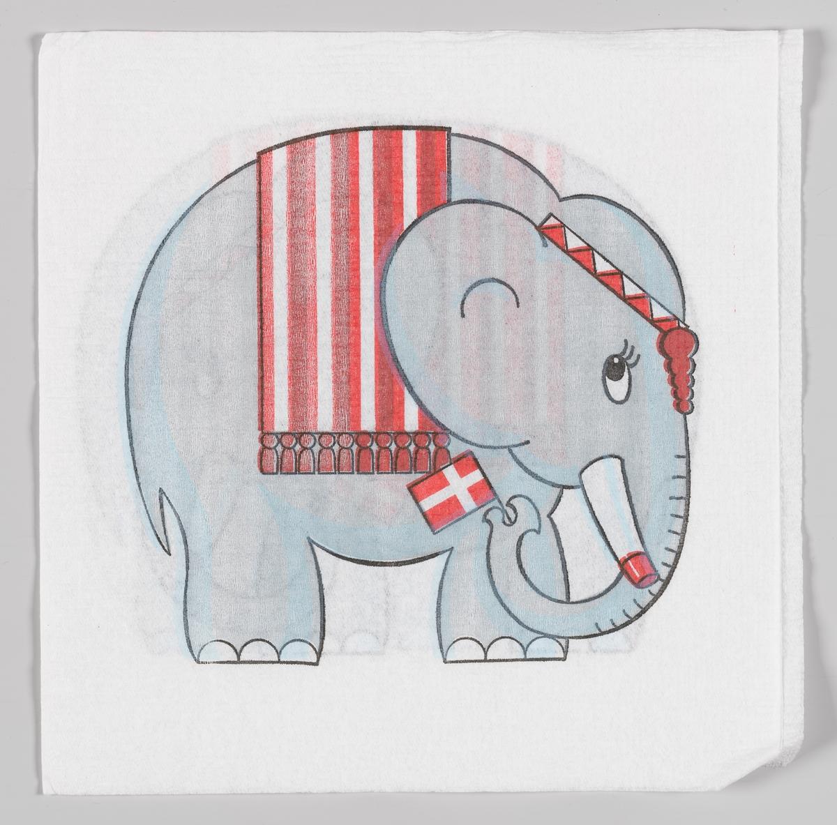 En elefant med stripet dekken og pannebånd vinker med et dansk flagg.