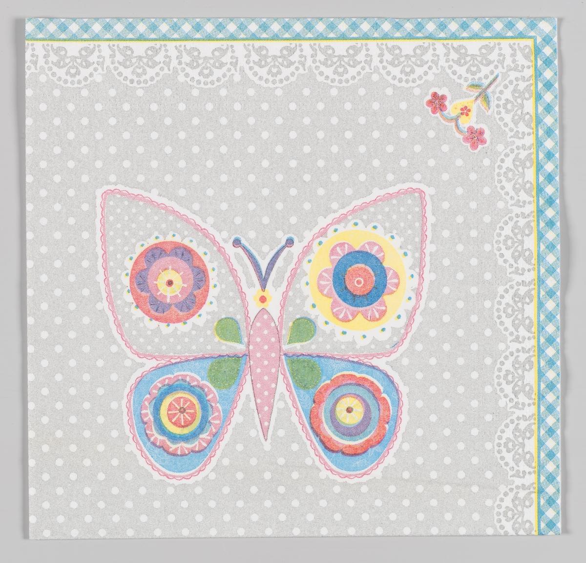 En sommerfugl og en liten blomst.  Samme motiv på serviett MIA.00007-003-0130