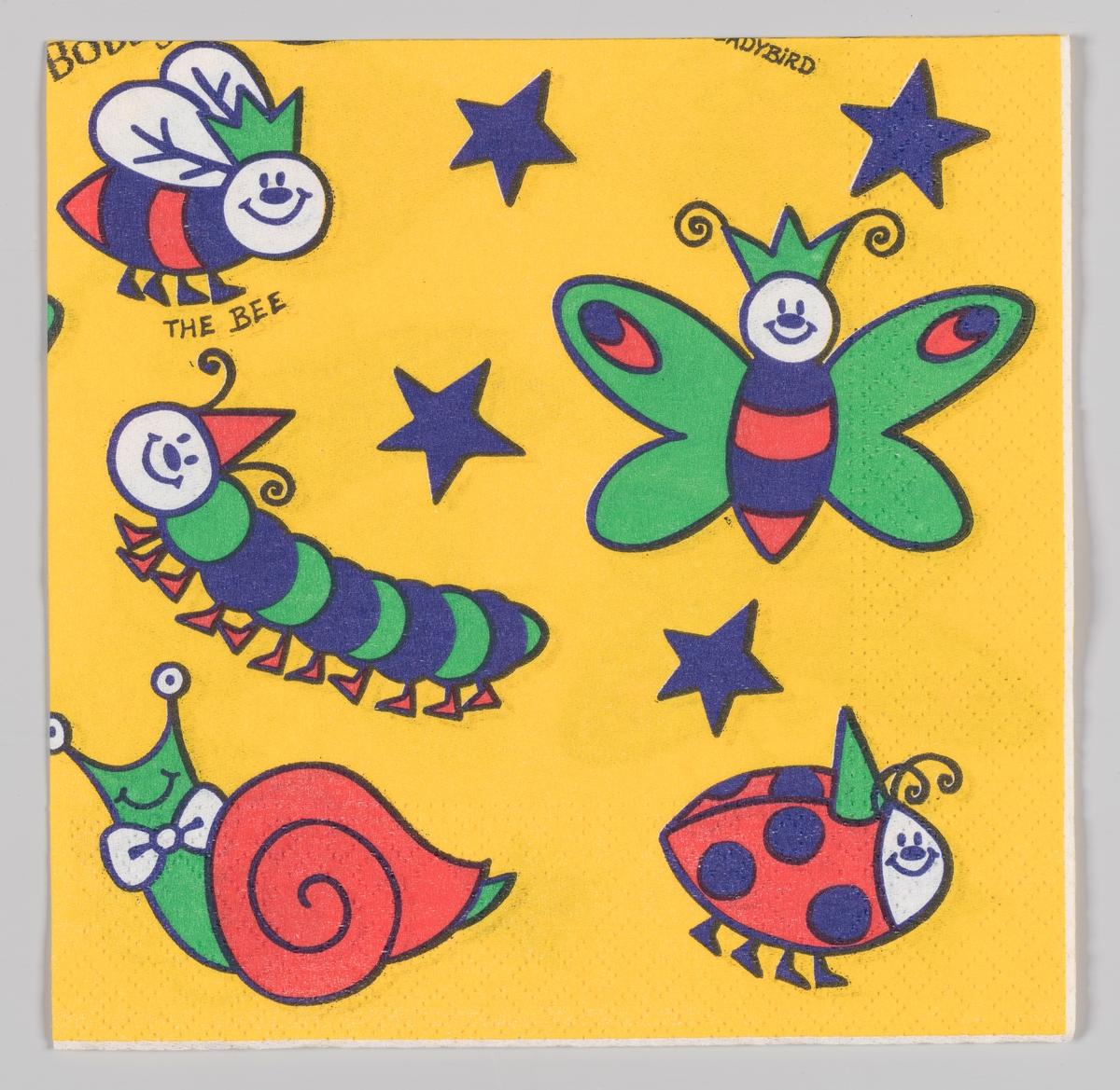 Smilende og fargerike insekter: En bie, en sommerfugl, en larve, en snegle og en marihøne mellom blå stjerner.