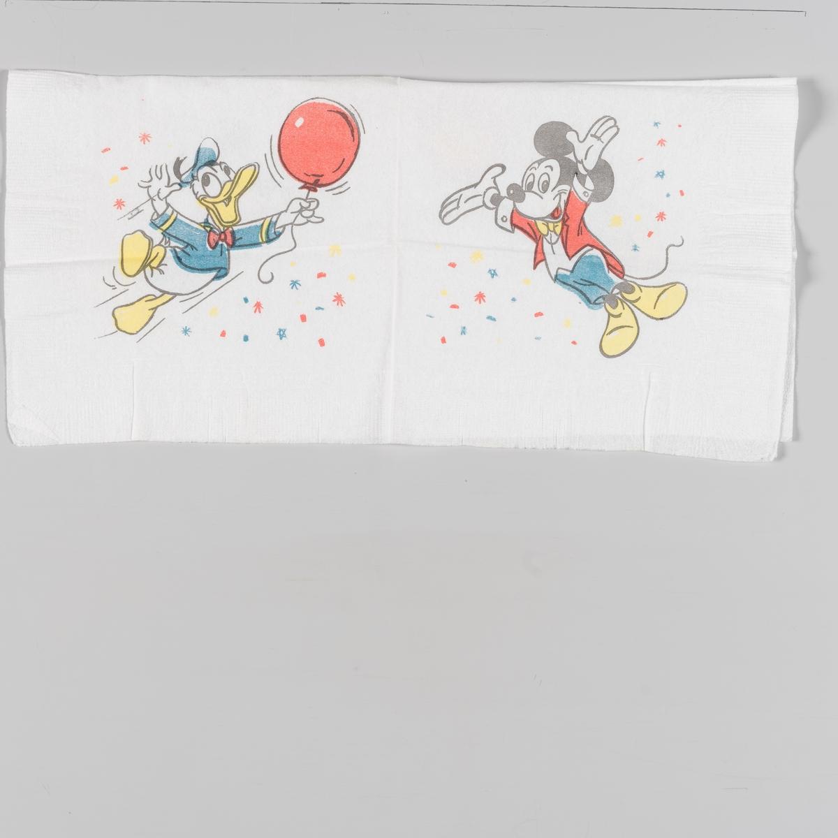 Donald Duck med en ballong og Mikke Mus