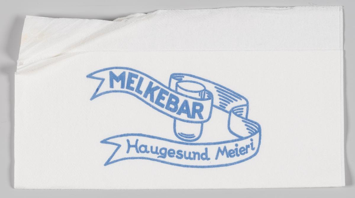 En tegning av en glass med et bånd med en reklame for Haugesund Meieri Haugesund Meieri eksisterte i perioden 1877 til 2007.