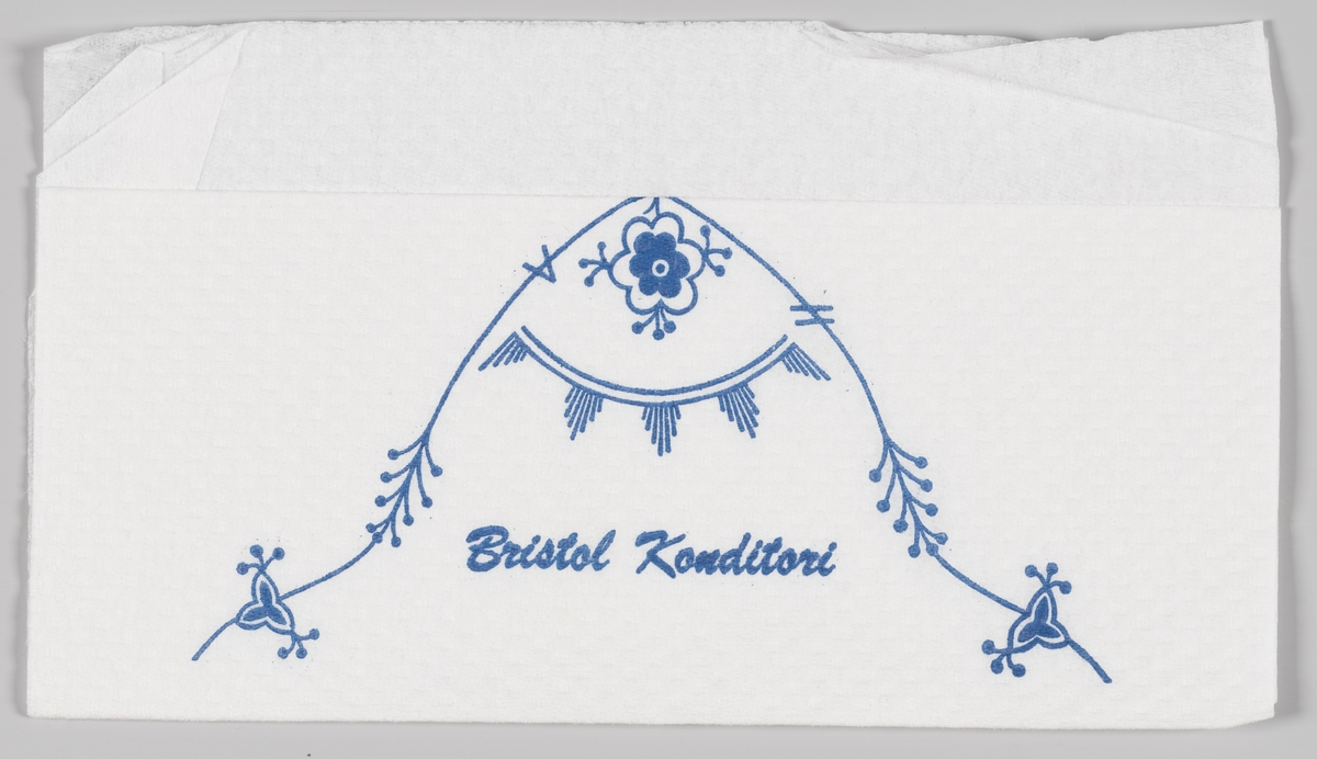 Stråmønster og en reklametekst for Bristol Konditori (Trondheim).  Bristol Conditori i Tronheim ble åpnet i 1929.