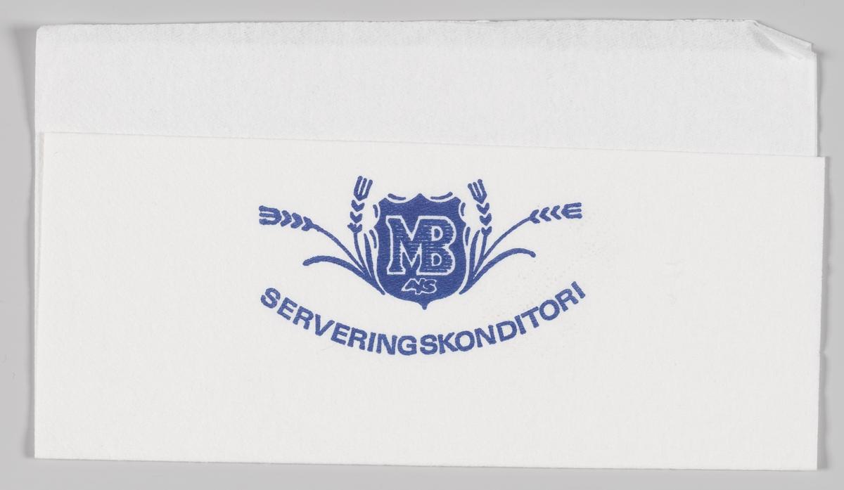 Kornaks rundt et skjold med reklametekst for MB A/S Serveringskonditori.