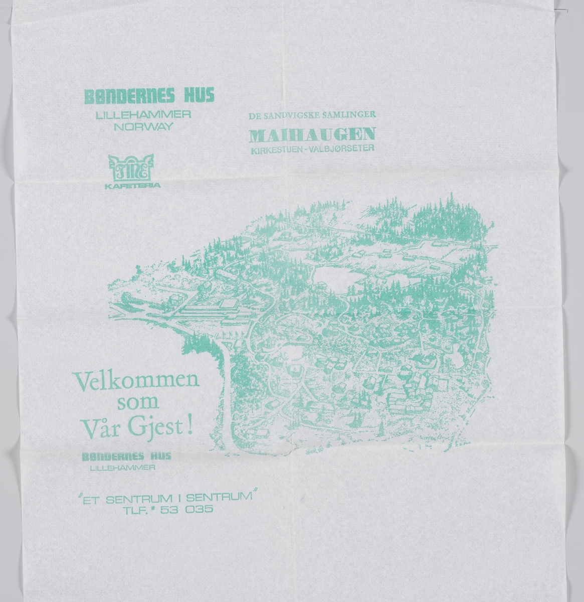 Et kart over Maihaugen på Lillehammer og en reklametekst for kafeteriaen Bøndernes Hus på museet.  Samme tekst på MIA.00007-004-0243.