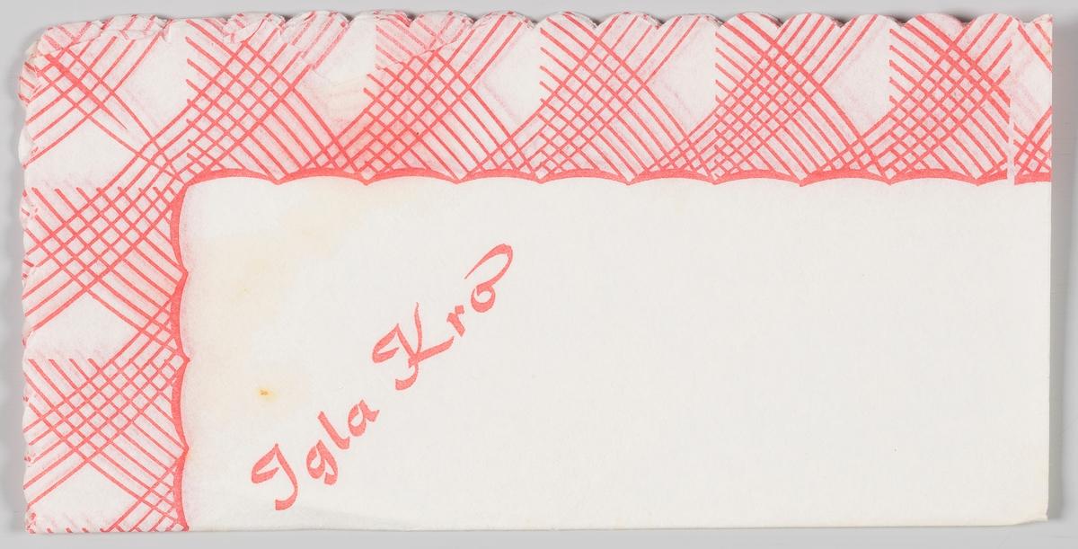 Rød og hvit stripemønster langs kanten og en reklametekst for Igla Kro i Follo.