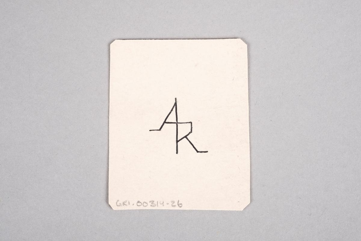 Tegning av en mannlig fange som holder en tang. Motivet er speilet.